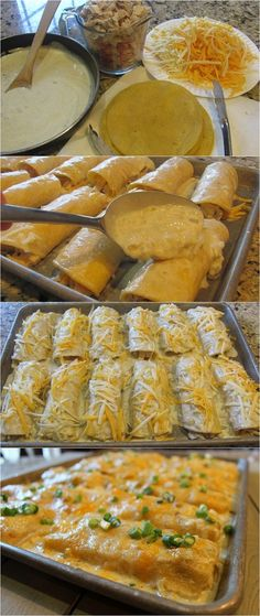 Mmm, these sound yummy. World Best Things: Creamy Chicken Enchiladas I Love Food, Good Food, Yummy Food, Mexican Dishes, Mexican Food Recipes, Creamy Chicken Enchiladas, Shrimp Enchiladas, Great Recipes, Favorite Recipes