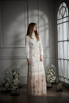 Embellished Bib Gown, £450.00, and Lace Collar Shirt, £195.00