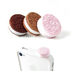 Strawberry Cookie Anti Dust Plug Cover Stopper for iPhone Samsung HTC Smartphone Mobile Accessory on Etsy, $4.99