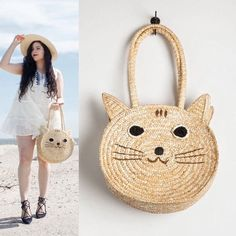 HP The cutest Straw Kitty Purse  Bloggers favorite item of the summer. Perfect for picnics and weekend outings. Heck why not wear it to school or work!  It's a cat lovers dream. New and never been worn. Pepaloves  Bags Totes