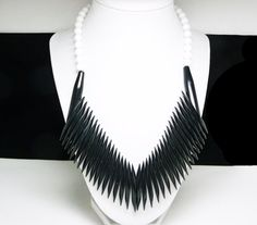 New Listings Daily - Follow Us for UpDates -  Pre Holiday Sale!!! Shop NOW and SAVE! Retro Black  & White Bib Necklace - Tribal #Jewelry gone MOD!  Lucite Plastic Beads and Spikes - Choker Length Design offered by TheJe... #vintage #jewelry #teamlove #etsyretwt #ecochic