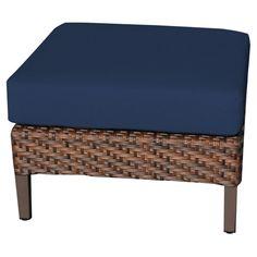 TK Classics Carmel Wicker Outdoor Ottoman - Set of 2 Cushion Covers - TKC060B-O-NAVY