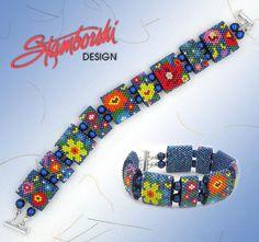 Summer Blooms WORD pattern for Peyote Carrier Bead Bracelet