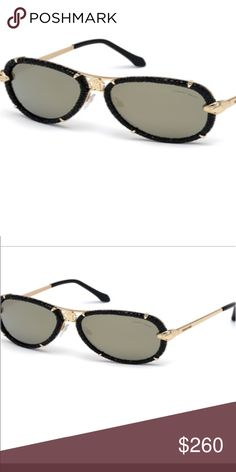 Authentic Roberto Cavalli Sunglasses Unisex Leather Black W/Gold hardware Lens color smoke mirror Roberto Cavalli Accessories Sunglasses
