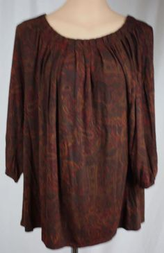 Ralph-Lauren-Womens-Stretch-Knit-Brown-Paisley-Long-Sleeve-Top-Size-1X