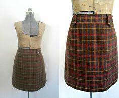 Vintage Wool Tweed Mini Skirt Harolds Size 12 by rileybellavintage, $24.00