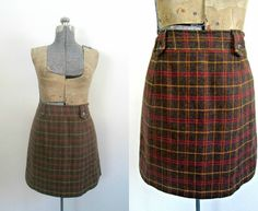 Vintage Wool Tweed Mini Skirt Harolds Size 12 Office Preppy