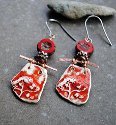 Artisan Ceramic Earrings Handmade earrings Primitive
