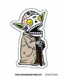 Old Yoda Calavera Clear Die Cut Vinyl Sticker by MisNopalesArt