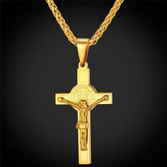 2f829d6cd041e Latin Cross 18K Gold Plated Pendant Necklace For Men Women Correntes  Masculinas, Masculino, Colar