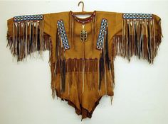Native American Indian Clothing | beaded deerskin warshirt clo003 deerskin fringed warshirt with ...