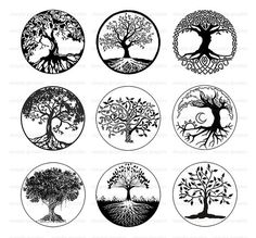 Tree of Life, Black and White Tree Clipart, Digital Download, Printable Download, 1 inch Circle Image Download, Cabochons, Pendant s209