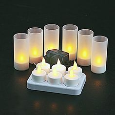 6+pc+Warm+Yellow++LED+Rechargeable+Flameless+Tea+Light+Candles+–+USD+$+53.99