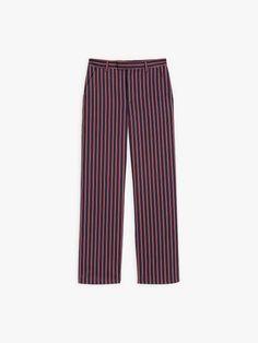 pantalon boy bleu marine à rayures | agnès b. Bleu Marine, Pajama Pants, Pajamas, Collection, Fashion, Stripes, Woman, Pjs, Moda