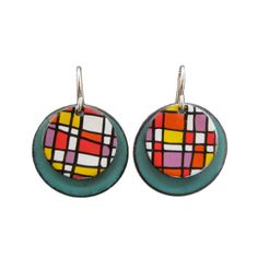 Plaid Earrings - White and Teal Enamel Earrings with Red, Pink, Orange, and Yellow Plaid Pattern Drawing