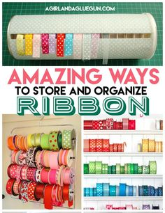 ribbon storage roundup - A girl and a glue gun Ribbon Organization, Ribbon Storage, Craft Organization, Tape Storage, Scrapbook Organization, Fabric Storage, Organizing Kids Books, Organizing Ideas, Craft Room Storage