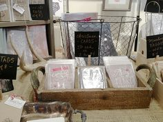 craft show display using wooden tray and wire basket