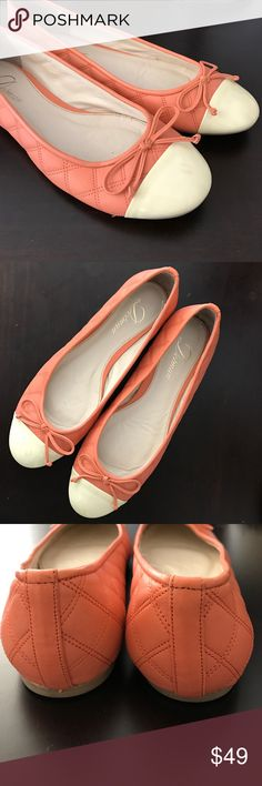 Delman peach cap toe ballet flats 7.5 Delman peach pink quilted leather ballet flats with cream patent cap toe. Chanel style quilted leather. Size 7.5M. Worn once or twice, in great condition. Delman Shoes Flats & Loafers