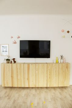 sideboard created with plain ivar cabinets