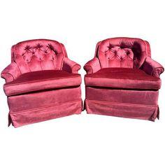 2 Hollywood Regency Violet Club Lounge Chairs Mid Century #HollywoodRegency