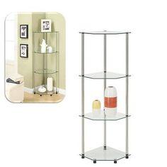 Corner Glass Shelves Stand Shelf 4 Tier Rack Stainless Steel Home Decor Kitchen