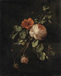 "poisonwasthecure: "" Still life with Roses Elias van den Broeck ca.1670 - 1708 """