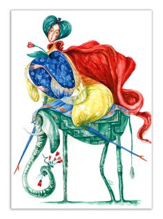 """""""Embodied Love""""  - illustration by Gratiela Aolariti (watercolor & inks / 29,7x42 cm).          All colored, rosy cheeks, graceful, playful and last but not least nonconformist and larger than an elephant - Embodied Love!"""