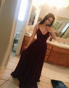 A-Line Prom Dress, Chiffon Prom Dress, Sexy Evening Dress, Evening Dress Long, Burgundy Prom Dress Prom Dresses 2019 Maroon Prom Dress, Maroon Bridesmaid Dresses, V Neck Prom Dresses, A Line Prom Dresses, Cheap Prom Dresses, Sexy Dresses, Party Dresses, Dress Prom, Wedding Dresses