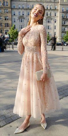 designer dresses tea length with long sleeves sequins lace .- designer dresses tea length with long sleeves sequins lace - Hijab Evening Dress, Hijab Dress Party, Evening Dresses, Pretty Dresses, Sexy Dresses, Fashion Dresses, Casual Dresses, Dresses For Hijab, Prom Dresses Long Modest