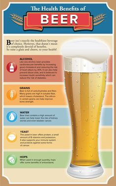 There may be no nutrition facts label on the bottle required by law, yet rest assured there is some health benefit from the golden brown liquid. Beer Brewing, Home Brewing, Beer Health Benefits, Beer Calories, Calendula Benefits, Healthy Drinks, Healthy Beer, Healthy Eats, Cocktail