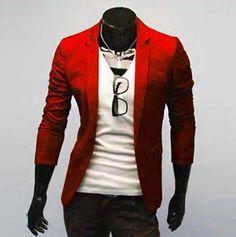 Aliexpress.com: Comprar Recién llegado de un solo botón de ocio Blazers hombres 2015 moda Slim Fit traje Casual rojo azul marino azul vestido de chaqueta de la ropa M 3XL de Blazers fiable proveedores en -Men's kingdom