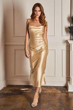 Satin Bridesmaid Dresses, Satin Dresses, Prom Dresses, Trendy Dresses, Satin Midi Dress, Long Satin Dress, Gold Silk Dress, Sheath Dress, Black Satin Dress