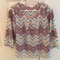 Shirt Turquoise brown and cream chevron 3/4 sleeve shirt Tops Blouses