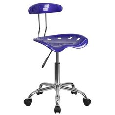 Vibrant Deep Blue and Chrome Task Chair with Tractor Seat