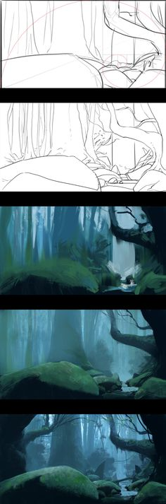 Ancient woods – Process by JeremyPaillotin.d… on – Art Drawing Tips Digital Art Tutorial, Digital Painting Tutorials, Art Tutorials, Painting Process, Process Art, Drawing Process, Paint Photoshop, Matte Painting, Painting Art