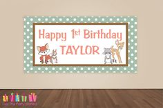 HAPPY BIRTHDAY Banner Woodland Animals Birthday Decoration