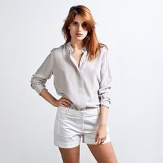 Classic Band - Light Grey / Size M https://www.everlane.com/collections/womens-silk-blouses/products/silk-band-grey