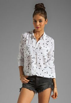 31b9dfe21cb42f Equipment Slim Signature Star Print Blouse in Bright White with black  cutoff jeans Star Print