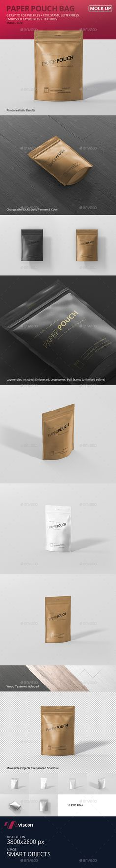 Paper Pouch Bag Mockup Small Size — Photoshop PSD #food #packaging • Available here → https://graphicriver.net/item/paper-pouch-bag-mockup-small-size/19389708?ref=pxcr