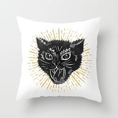 kitty attack Throw Pillow