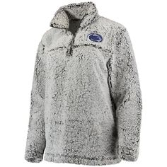 Women s Gray Penn State Nittany Lions Sherpa Super Soft Quarter-Zip  Pullover Jacket 5145d7561
