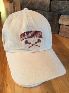 c706ac91829a1 Abercrombie-Tan-Ivory-Embroidered-Baseball-Hat-Cap-Adj-Leather-Strap-OSFA