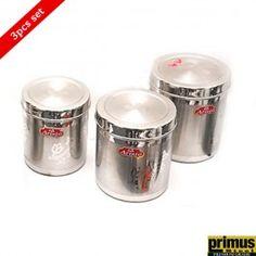 Primus Steel Aristo Design Storage Canister Set of 3 Pcs Kitchen Storage Containers, Storage Canisters, Buy Kitchen, Kitchen Items, Stainless Steel Containers, Storage Sets, Canister Sets, Cooking Timer, Stuff To Buy