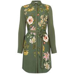 Oasis Opium Visc Print Shirt Dress ($66) ❤ liked on Polyvore featuring dresses, green, women, oasis dress, pattern dress, print dress, green shirt dress and green print dress