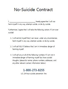 No Suicide Contract for Therapy practices