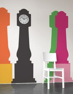 Grandfather Clock by Blik wall decals comes with an extra base in a complimentary color so you can express yourself with a playful two color combination or a stylish monochromatic look. Save the unused base in case you decide you want to mix it up. Wall Stickers, Wall Decals, Wall Art, Clock Wall, Wall Vinyl, Clock Orange, Modern Grandfather Clock, Peler Beads, Complimentary Colors