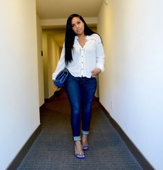 White Blouse and Denim Jeans (Major Must Haves) Black Summer Outfits, Fall Outfits, Cute Outfits, Stylish Outfits, Fashion Outfits, Denim Blouse, Denim Jeans, Black Women Fashion, Womens Fashion