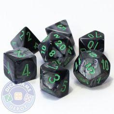 Gemini 7-Piece RPG Dice Set - Black and Gray