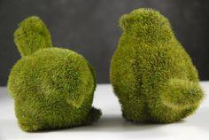 "Set of Two Moss Covered Bird (2 Birds) 4.5"" tall $8.49"