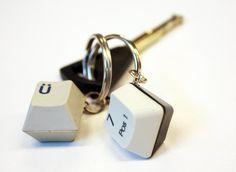 Key charms made of old computer keypad keys! Globe Hope